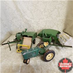 Tray Lot: John Deere 2 Beetle Back Combines and 1 Tractor with 3 Pt Hitch (Scale 1/16)