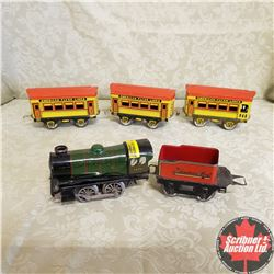 Hornby Tin Locomotive with 4 Cars (O Gauge)