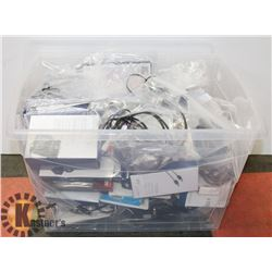 PLASTIC BIN OF COMPUTER/ELECTRONIC ACCESSORIES