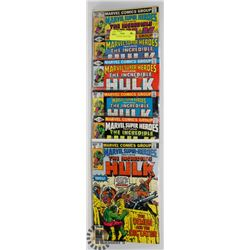 6 VINTAGE HULK COLLECTORS COMICS