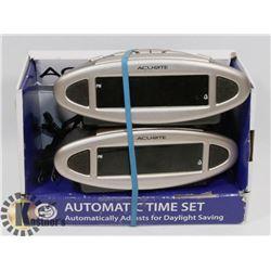 LOT OF 2 ACU-RITE AUTOMATIC TIME SET CLOCK.