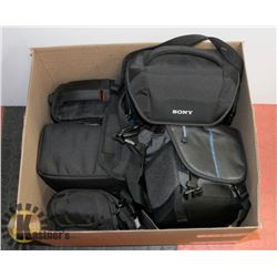 BOX OF ASSORTED CAMERA BAGS/CASES.