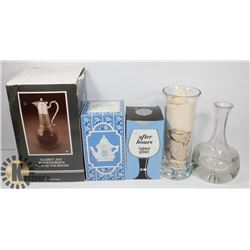 LARGE ESTATE BOX OF NEW AND USED DECANTERS,