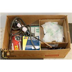 BOX  OF ASSORTED, TRAVEL IRON, AIR COMPRESSOR