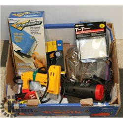 BOX OF PAINTING ITEMS, SHOP SAW BLADES, ALLEN KEYS