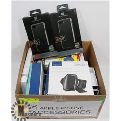BOX OF ASSORTED IPHONE ACCESSORIES.