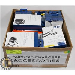 BOX OF ASSORTED ANDROID ACCESSORIES.