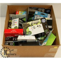BOX OF OFFICE SUPPLIES INCL INK CARTRIDGES,