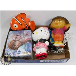 COLLECTION OF KIDS' ITEMS: ALARM CLOCK, LAMP,