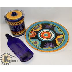 """PIER 1 HAND PAINTED EARTHENWARE CANISTER """"ITALIAN"""