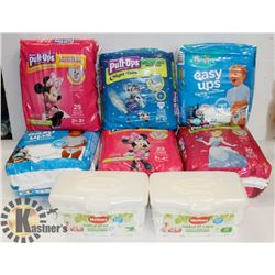 LARGE FLAT OF DIAPERS AND BABY WIPES