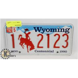 WYOMING CENTENNIAL LICENSE PLATE
