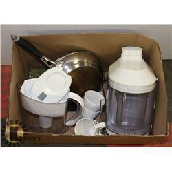 BOX WITH BRAUN JUICER, BRITA WATER FILTER, DISHES,
