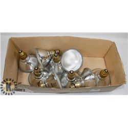 BOX OF ASSORTED LIGHT BULBS.
