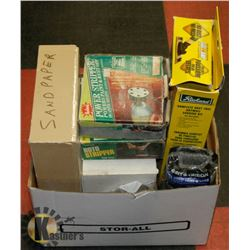 BOX OF ASSORTED SANDING PAPER AND EQUIPMENT