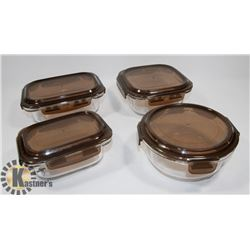 SET OF 4 KOMAX GLASS SNAPLOCK CONTAINERS, MICROWAVE