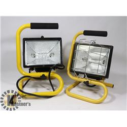 LOT OF TWO WORKSITE LAMPS, ONE MISSING COVER