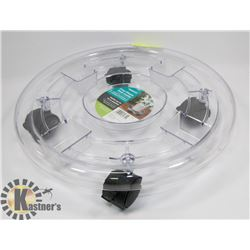 NEW 'PANACEA' CLEAR PLASTIC PLANT CADDY - HOLD