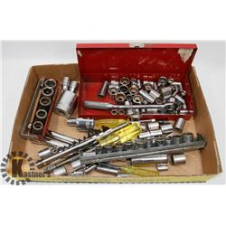 FLAT OF SOCKETS INCLUDING SNAP-ON, CRAFTSMAN AND