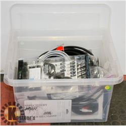 PLASTIC BIN OF COMPUTER/ELECTRONIC ACCESSORIES