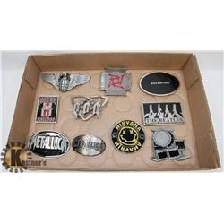 LOT OF 10 BAND RELATED BELT BUCKLES.
