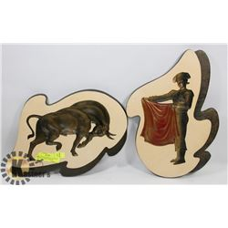 VINTAGE SPANISH BULL FIGHTER AND BULL WALL PLAQUES