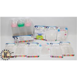 BAG OF BABY PRODUCT INCLUDING BOTTLES