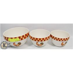 3PC ROOSTER THEME DISH SET