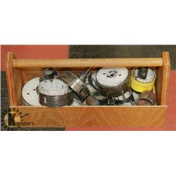 WOOD TOOL BOX WITH ASSORTED HOLE SAW CUTTERS