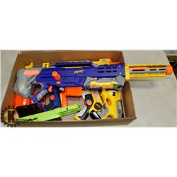 BOX W/ VARIOUS NERF GUNS AND EXTRA MAGS.