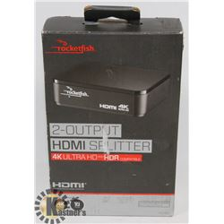 NEW ROCKETFISH 4K ULTRA HD 2 OUT HDMI SPLITTER