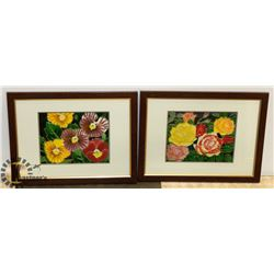 LOT OF TWO FRAMED DOUBLE MATTED FLOWER THEME
