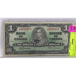 1937 CANADIAN $1 BILL