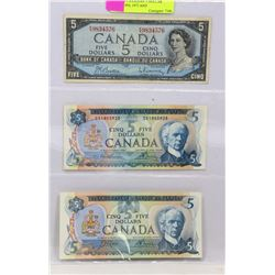 LOT OF 3 CANADIAN 5 DOLLAR BILLS - 1954, 1972 AND