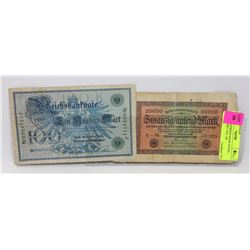 LOT OF 2 GERMAN BANK NOTES - 20000 MARKS 1923, 100