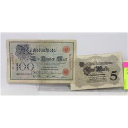 LOT OF 2 GERMAN BANK NOTES - 5 MARKS 1914, 100