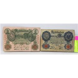 LOT OF 2 GERMAN BANK NOTES - 20 MARKS 1908, 50