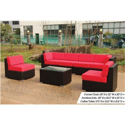 7 PCE OUTDOOR WICKER FURNITURE SET