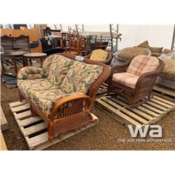 WICKER LOVE SEAT & (2) CHAIRS