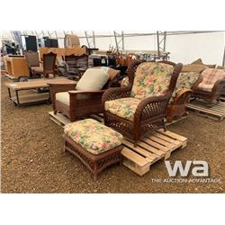 WICKER ROCKING CHAIR, CHAIR & FOOT STOOL
