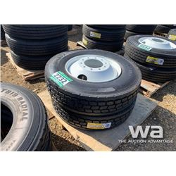 (2) GRIZZLY 11R24.5 TRUCK TIRES & RIMS
