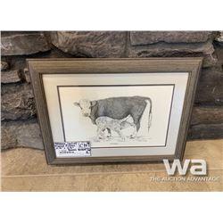 """NEWBORN"" COW/CALF FRAMED PICTURE"