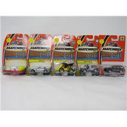 LOT OF 5 MATCHBOX TOY VEHICLES (BMW Z4, BEACH PATROL, Y-NASSAURUS, CADDILAC ESCELADE, FIRE HOVERCRAF