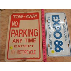 PLASTIC SIGN AND LICENSE PLATE (TOW AWAY AND VANCOUVER EXPO 1986)