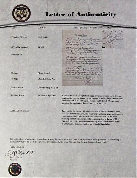 Janis Joplin signed Mercedes Benz lyrics sheet , Framed