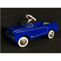 AMF BLUE MUSTANG PEDAL CAR, REPRODUCTION OF 1965 MODEL, NEW, NEVER USED