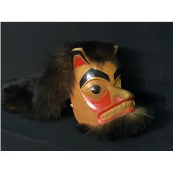 R. HARRIS HAND CARVED AND PAINTED GITXSAN BEAR MASK WITH FUR ACCENTS, DATED 1991, SIGNED BY ARTIST,