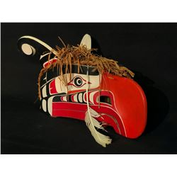 HAMATSA HAND CARVED AND PAINTED HEADDRESS FROM ALERT BAY, BC, WITH ARTICULATING BEAK AND CEDAR BARK