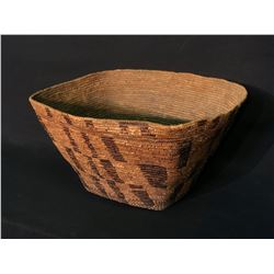 "LARGE CHILCOTIN IMBRICATION CHECKERED BURDEN BASKET, 11.5"" X 18"" X 21"""