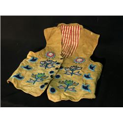 NORTHERN TAHLTAN HAND SEWN VEST WITH TRADITIONAL BEAD DESIGNS